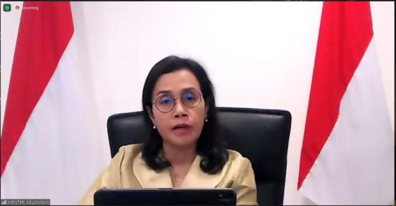 Menteri Keuangan (Menkeu) saat Konferensi Pers Bersama Ekosistem Logistik Nasional secara virtual, Kamis (24:9)