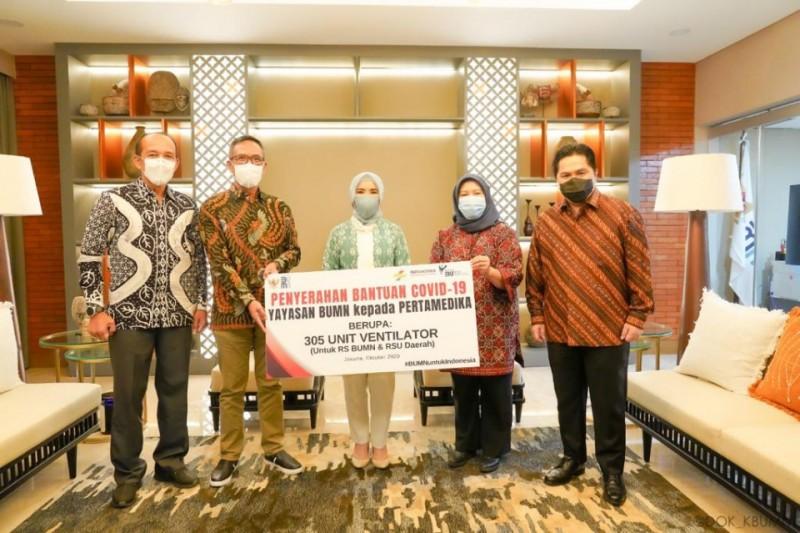 Disaksikan Menteri BUMN, Pertamina Serahkan Bantuan 305 Ventilator
